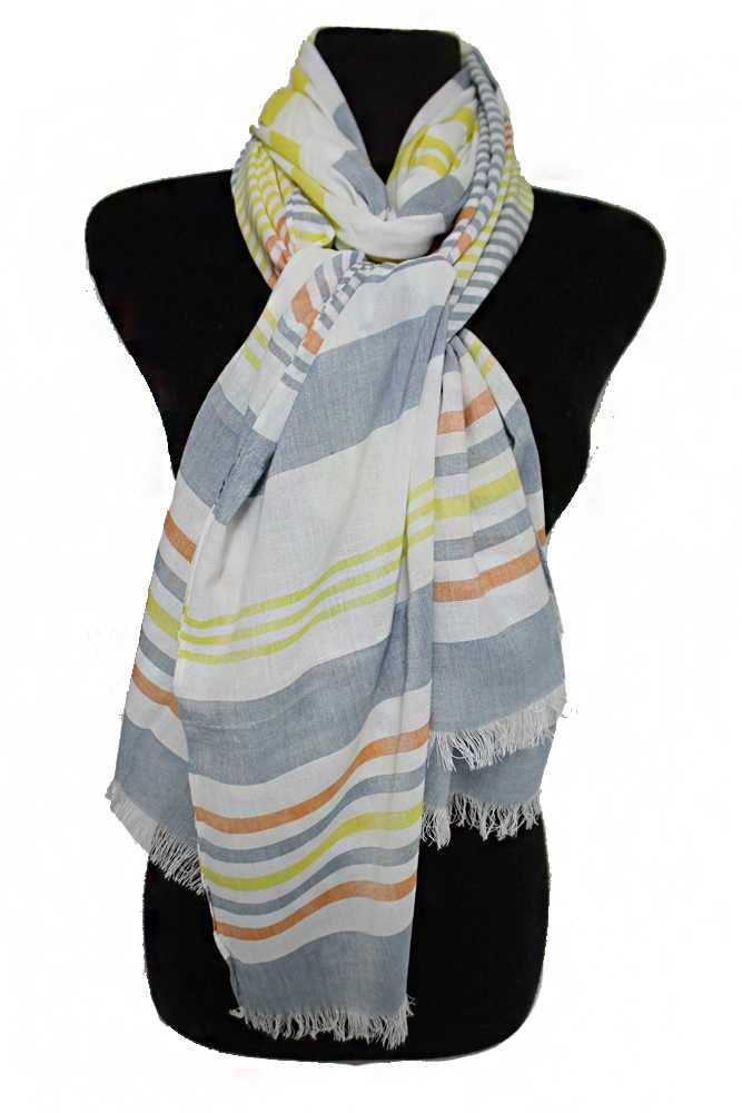 Thin Thick Horizontal Striped Natural Cotton Dyed Frayed Oblong Scarves