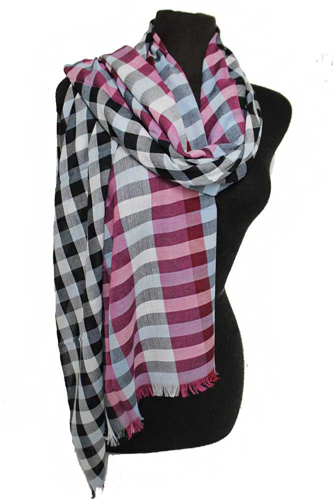 Tartan Checkered Plain Natural Cotton Dyed Frayed Oblong Scarves
