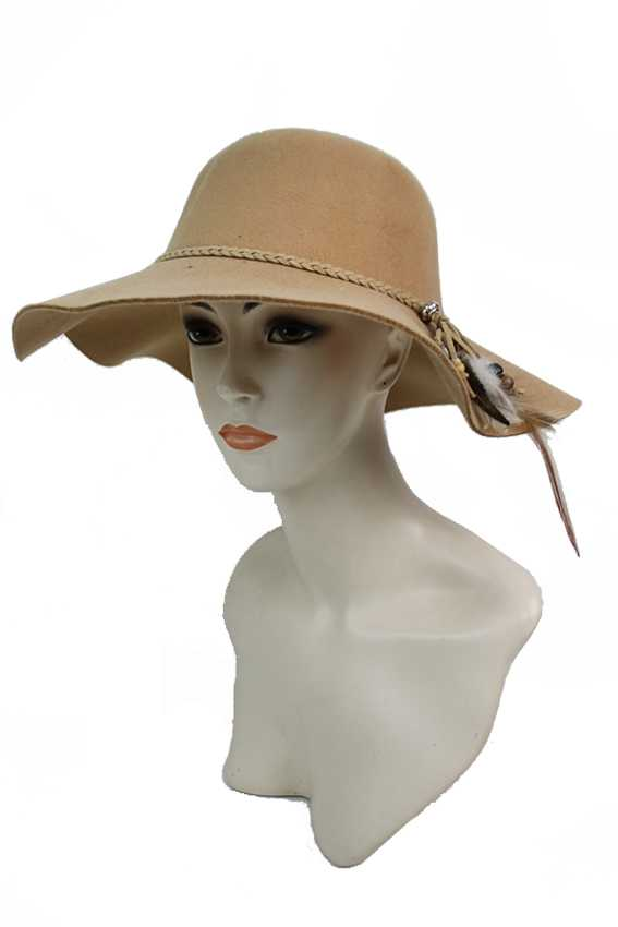 Braid Feather with Wood Bead Design Super Softness Floppy Hat