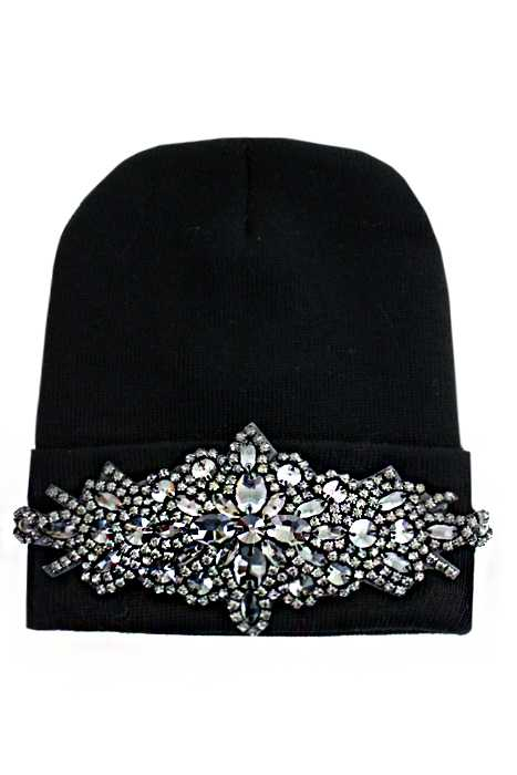 Gun Metal Colored Crystal Floral Design Long Beanie