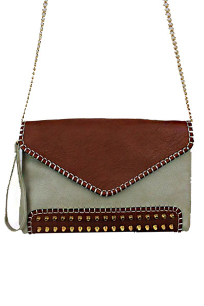 Two Tone Envelope Clutch With Studs Accents.