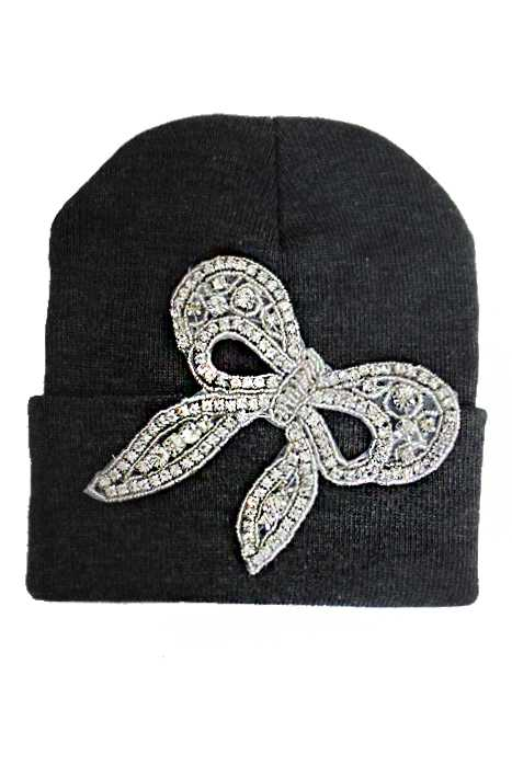 Pretty In A Stone Bow Designed Long Beanie