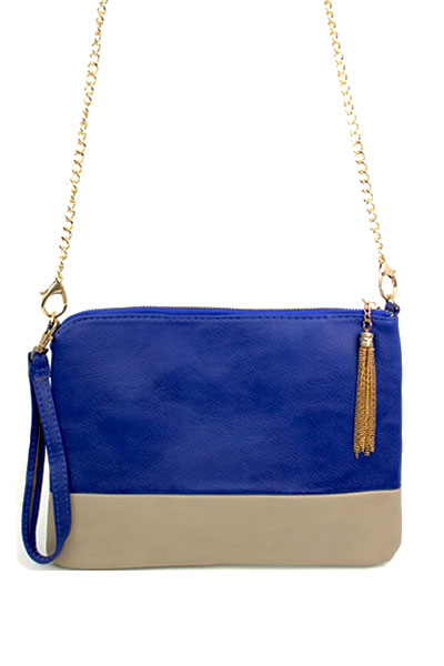 Color Bock Leather Clutch