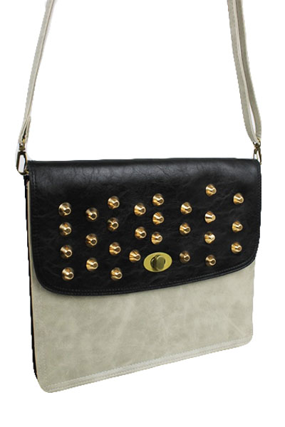 Two Tone Cross Body with Studs Accents