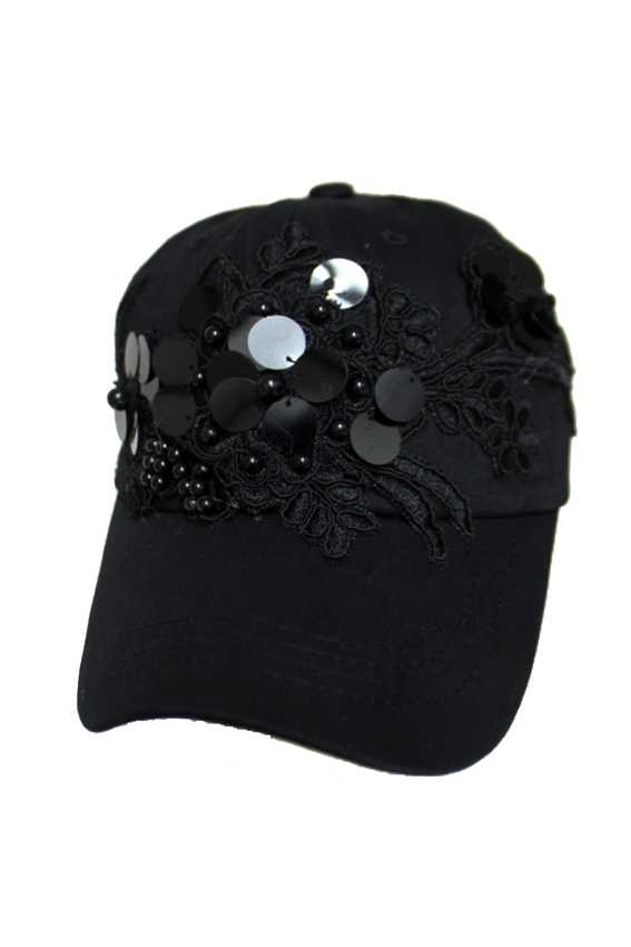 Flower Design Embroidery Patch with Bead and Big Sequins Cotton Cap