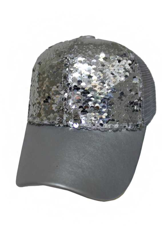 Sequins Color with Faux Leather Fashion Cap