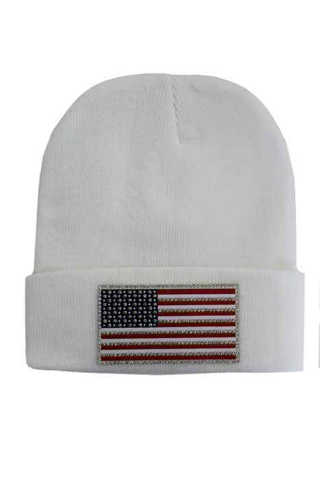 American Flag Silicone Patch with Swarovski Looks Stone Design Long Beanies