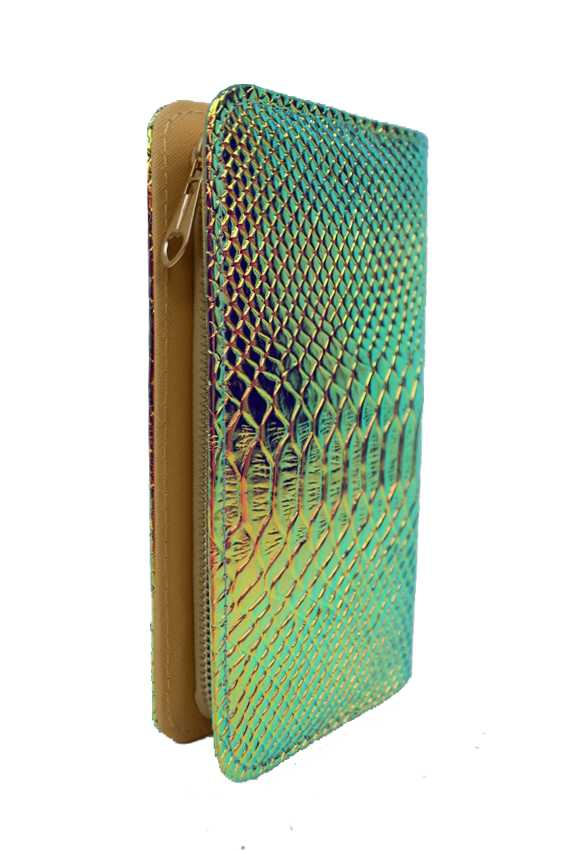 Hologram Full Length Zip Wallet Snake Embossed Textured