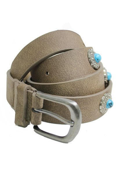 Navajo Turquoise Mini Concho Detailed Faux Leather Belt