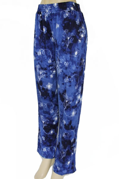 Natural Blue Tie Dye Elastic Waist Band Palazzo Pants