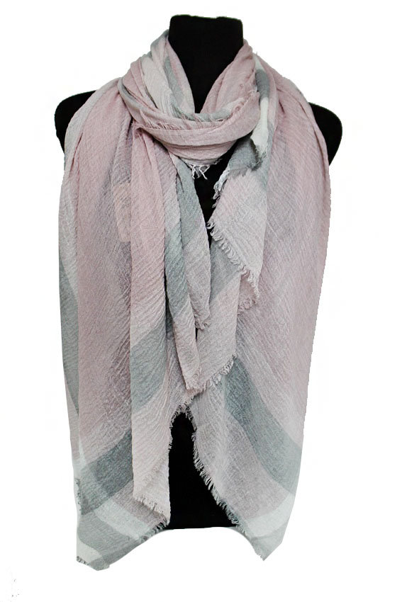 Gauze Thick Multi Grained Colored Plaid Frayed Hem Oblong Scarves