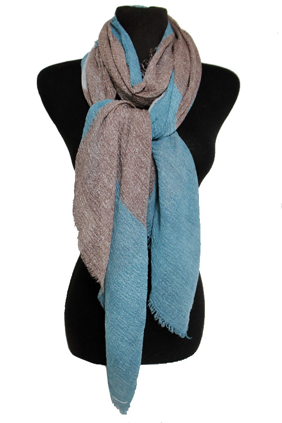 Frayed Oblong Color Block Grained Colo Dyed Crinkled Fashion Scarves