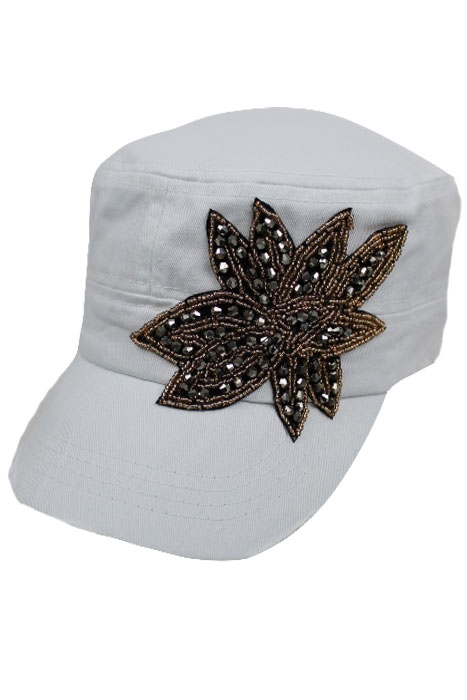 Crystal Accent Flower on Cotton Cadet Hat