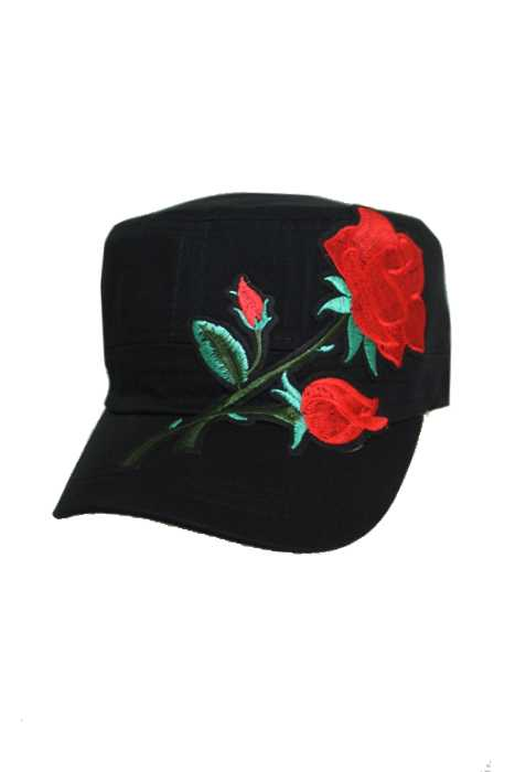 Oversized Enchanted Rose Embroidered Dad Strapback Cap