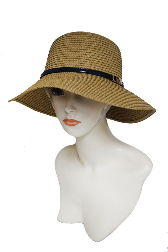 Bucket Style with Faux Leather Gold Metallic Design Strong Toyo Straw hat