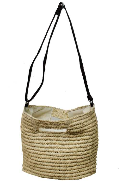 Natural Braid Cross Body Straw Bag