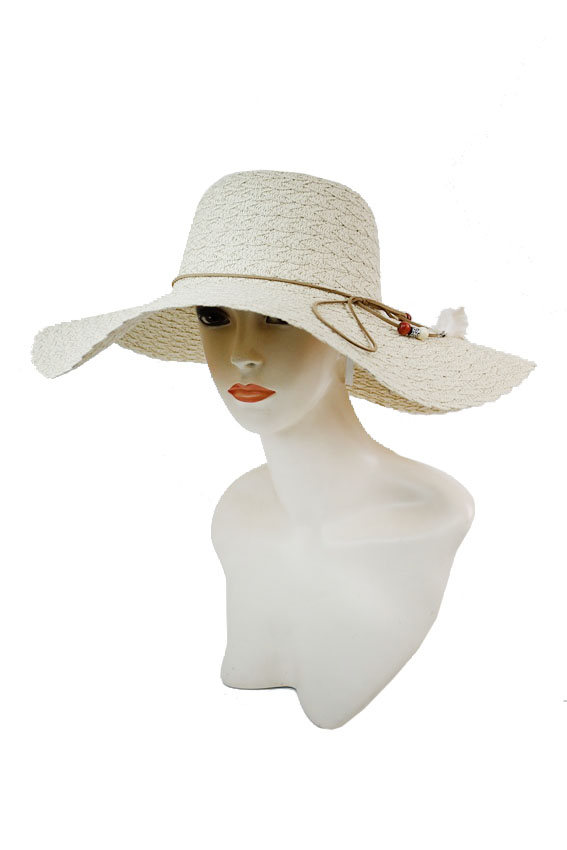 Twist Pattern Toyo Straw with Suede trim Feather Design Big Brim Sun Hat