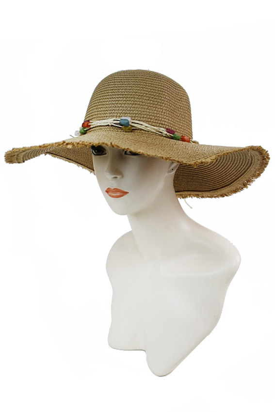 Twisted Frayed With Chic Boho Colored Beads Floppy Sun Hat