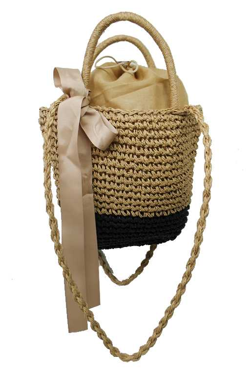 Boho Styled Weaved Top Handle Natural Sea Grass Straw Small Bag