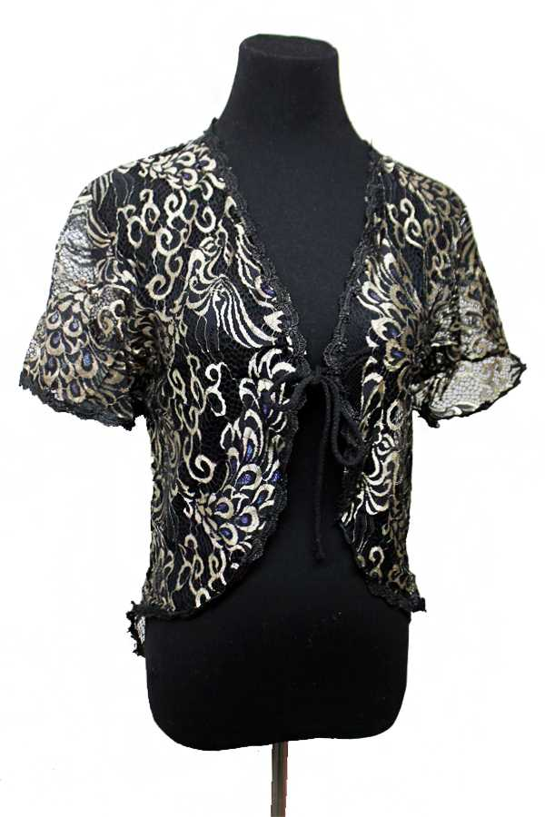 Peacock Feather Patterned Lace Fabric Short Sleeved Kimono Styled Cardigan