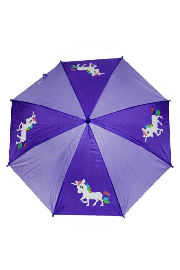 Two Tone Unicorn Printed Umbrella with Plastic Handle