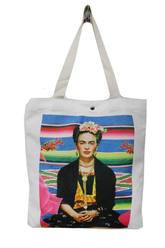 Cultural Icon Frida Kahlo Printed Canvas Tote Bag