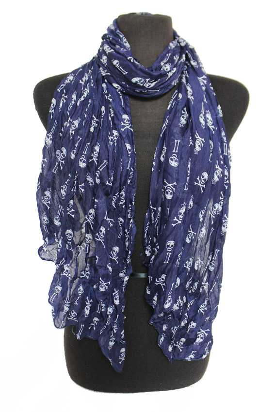 Scrunched Ityy Bitty Skull Oblong Scarves