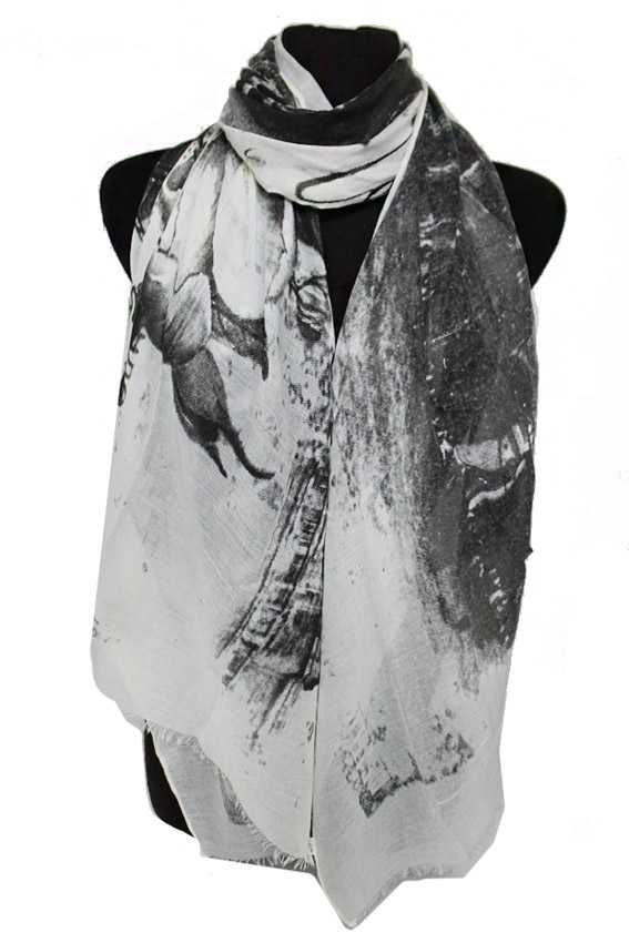 Roman Architecture Scenery and Florals Printed Oblong Scarves