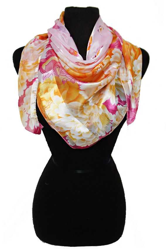 Sheer Chiffon Feel Floral Spring Setting Vibrant Printed Hanky Scarves