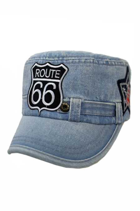 ROUTE 66 ,Motorcycle, Star American Flag Sequin Cadet Patch Work Cap