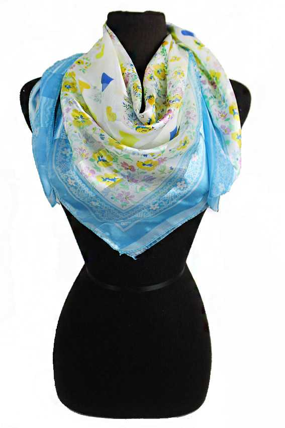 Itty Heart With Dainty Flowers Printed Hanky Scarves