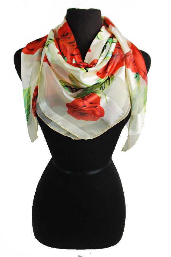 Extra Vibrant Red Rose Chiffon Printed Hanky Scarves