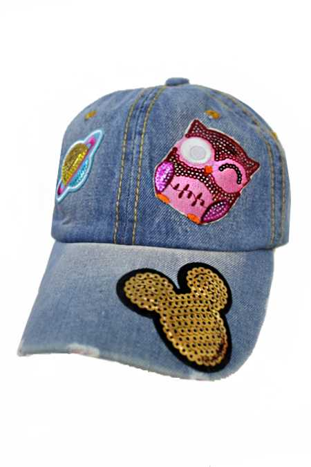 Sparkled Sequin Assorted Girl Design Patch Denim Distressed Cap