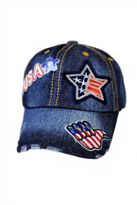 American Patriotic USA Sequin Patch work Applique Denim Distressed Cap