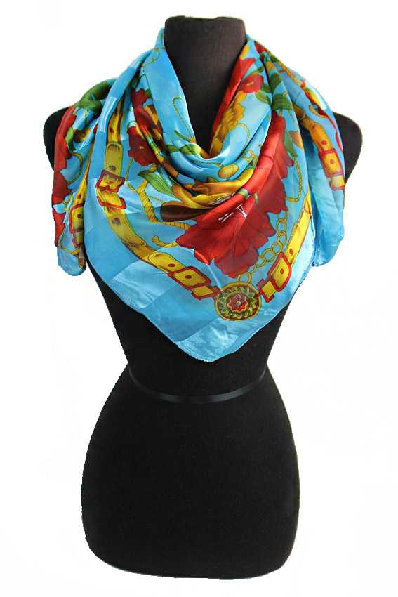 Chained Red Roses Chiffon Silk printed Hanky Scarves