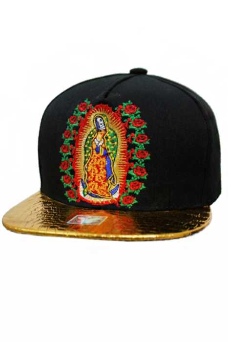 Virgen De Guadalupe Gold Plated Bill Embroidered Snap Back Cap