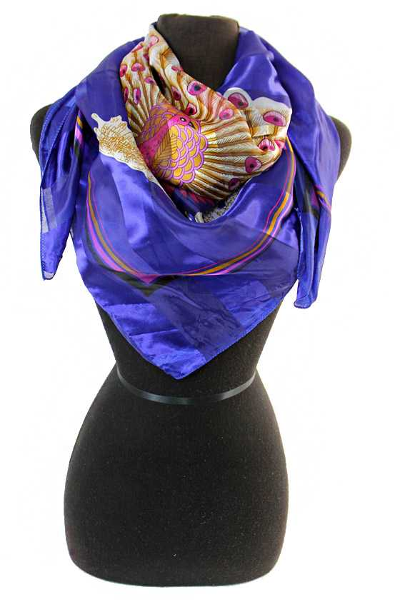 Center Fold Peacock Chiffon Silk printed Hanky Scarves