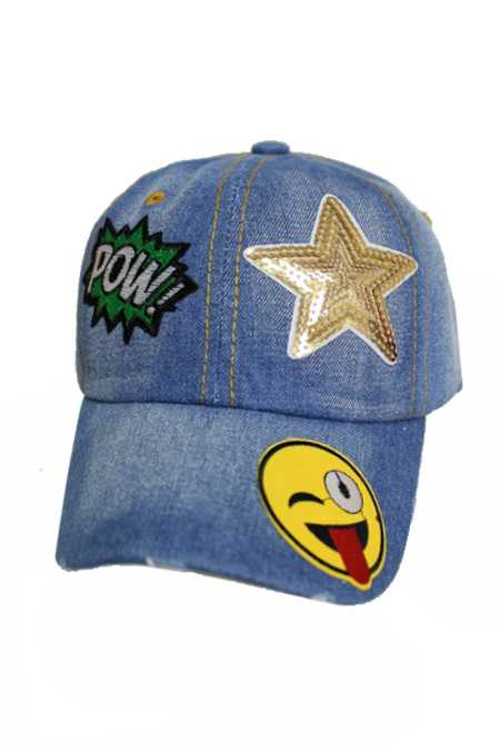Sparkle Sequin Assorted Girl Design Patch Denim Distressed Cap