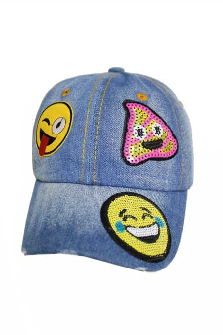 Assorted Emoji Sequin Applique Fashion Patch Design Denim Distressed Cap