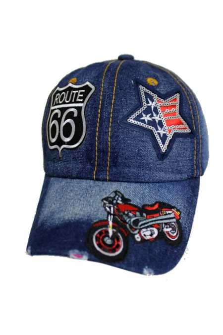 Route 66 American with Motorcycle Sparkle and Sequin Fashion Patch Design Denim Distressed Cap