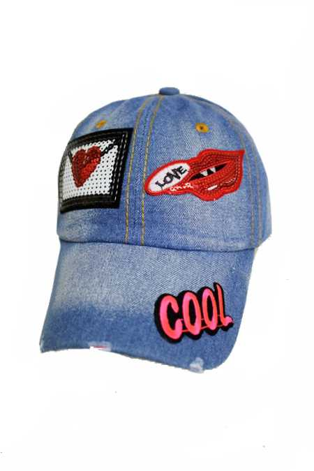 Sparkle Sequin Assorted Girl Design Lovely Patch Denim Distressed Cap