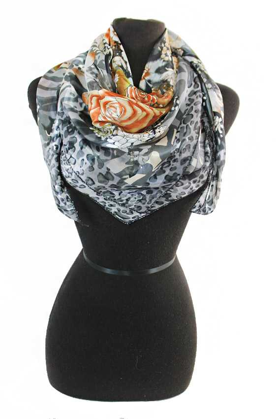 Exotic Flowers And Leopard Chiffon Silk printed Hanky Scarves