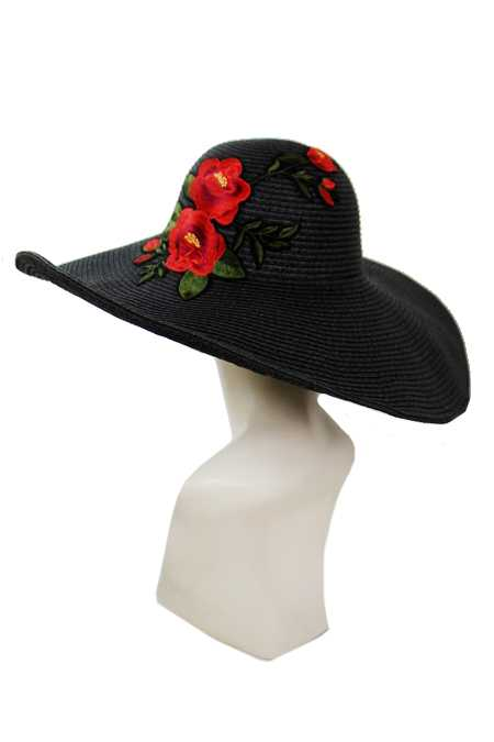 Deep Red Oversized Gardenia Floral Bouquet Floppy with Wire Fashion Sun Hat
