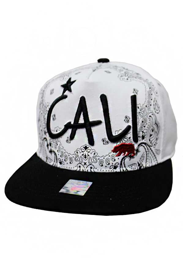 CALI Design Flower Bandana Background Snap Back Fashion Cap