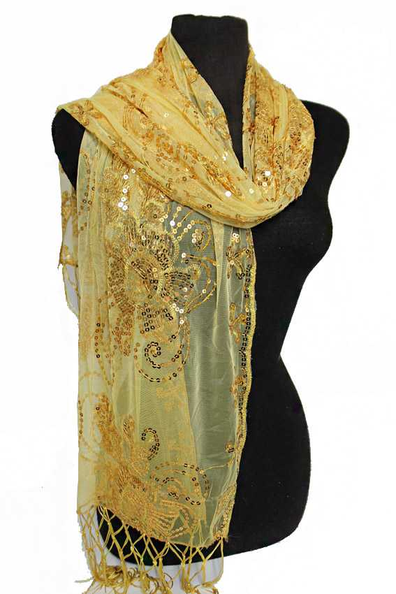 Sheer Sensational Sequin Chiffon Extra Soft Floral Detail Festive Scarves And Shawls