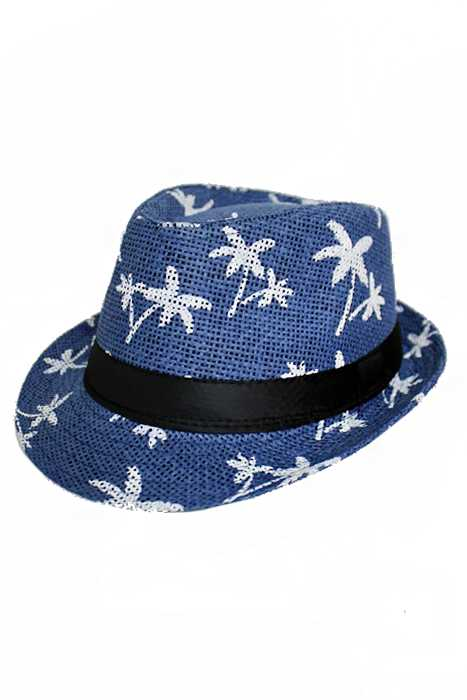 Palm Tree Paradise Straw Fashion Fedora Hat