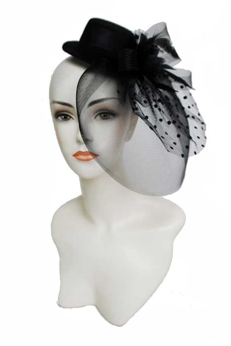 Floral Center Tulle With Polka Dot With Mini Top Hat Base Fascinator Head Band