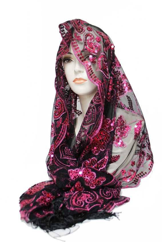 Two Tone Sequins Chiffon Soft Floral Detail Festive Scarves And Shawls