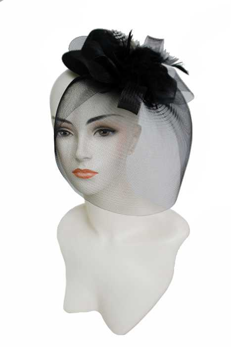 Mini Top Hat with Feather Base Lush Flower Brooch Tulle Fascinator Headband