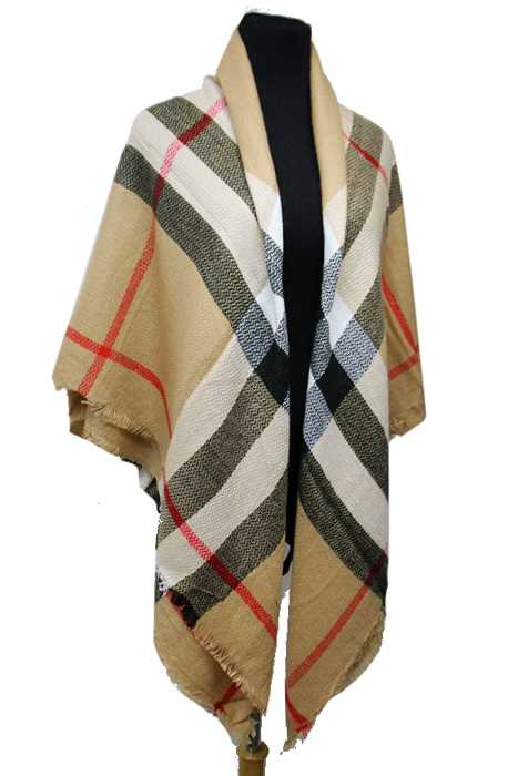 Plaid Pattern Knitted Large Over Sized Blanket Scarf and Shawls